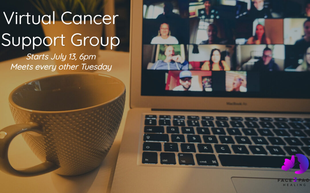 Virtual Support Group promo image with laptop and coffee